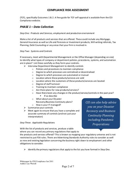 compliance assessment template compliance risk assessment