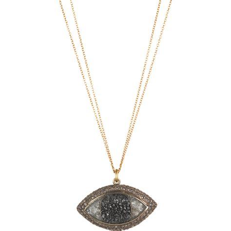 renee lewis black white large third eye pendant