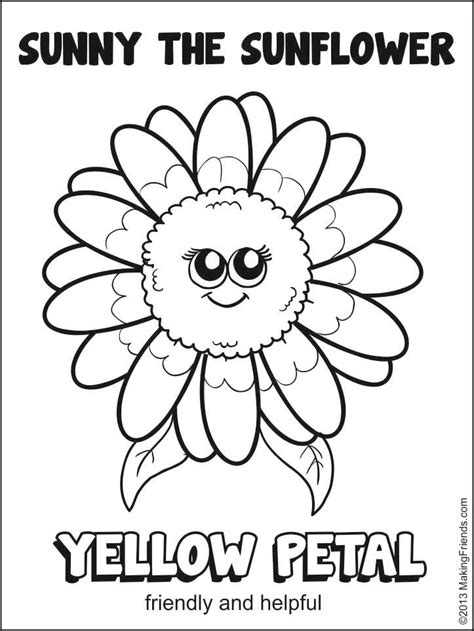 Girl Scout Daisy Yellow Petal Sunny The Sunflower Coloring Scout Petal Coloring Page Free