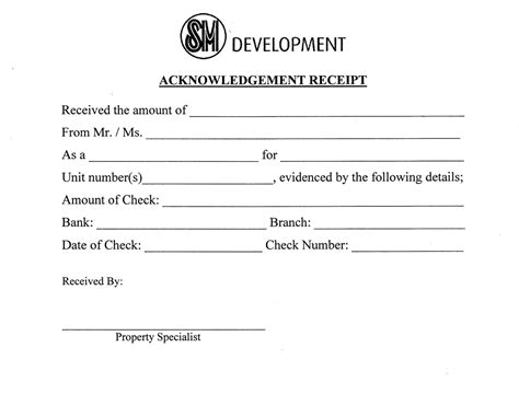 printable acknowledgement receipt blank and effective template sle foracknowledgement