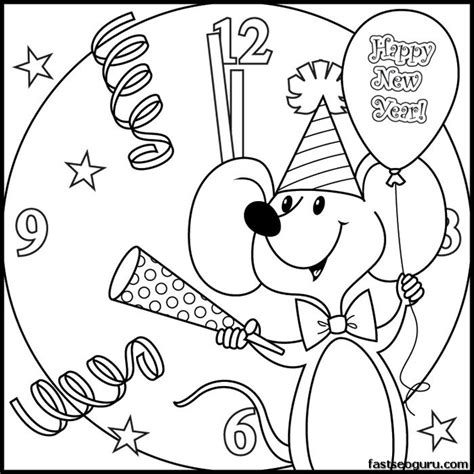 printabel coloring pages new year mouse printable
