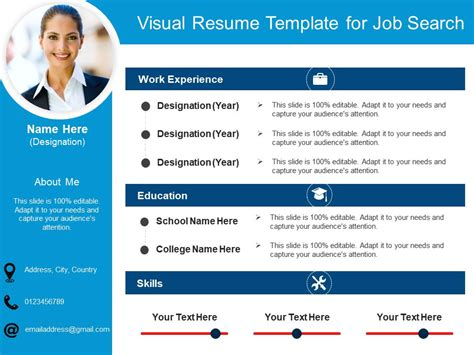 visual resume templates ppt visual resume template for search 2 powerpoint slides diagrams themes for ppt