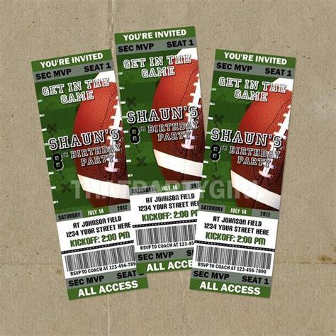 12 Football Birthday Party Ticket Style Invitations Football Ticket Invitation Template Free