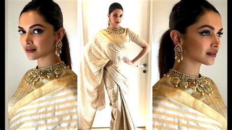 deepika padukone gold saree deepika padukone in golden saree on super dancer 2 for