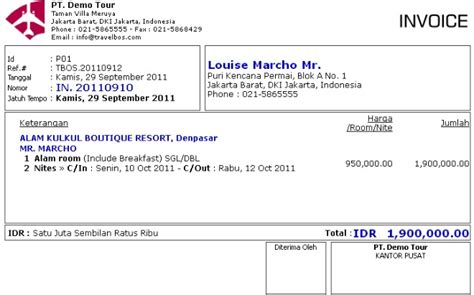 cara membuat nota invoice travelbos bukti penerimaan aplikasi akunting travel