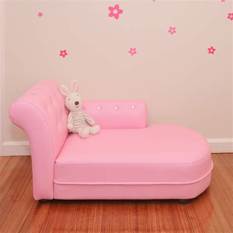 Kids PVC Leather Crystal Chaise Lounge in Pink Buy Kids