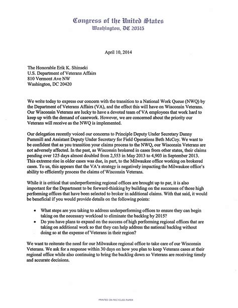 letter to a congressman template wisconsin congressional delegation letter to va