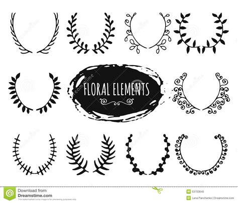 hand draw design elements vector hand drawn floral doodle design elements stock vector