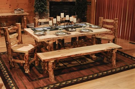 Log Dining Room Furniture Aspen Log Dining Set Aspen Dining Table Minnesota Aspen Log Furniture The Log Furniture Store
