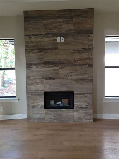 wood finish porcelain tile fireplace surround   Google