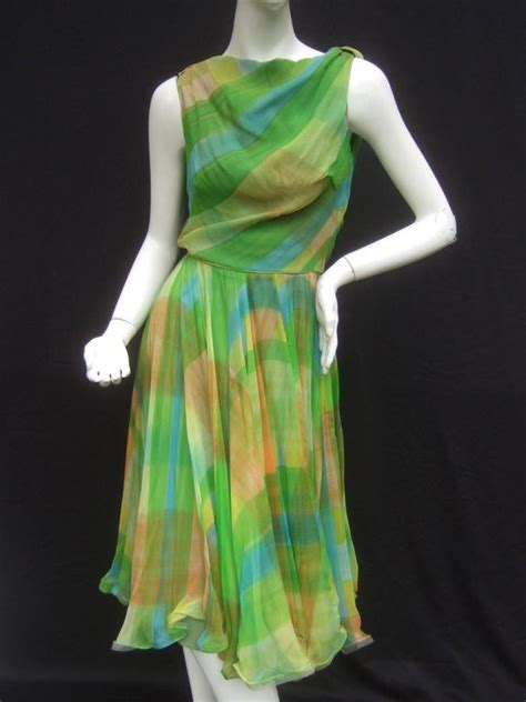 1960 swing dress 1960s vibrant sheer silk chiffon swing dress ca 1960 for