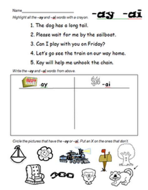 Ai And Ay Worksheets by Ay And Ai Foundational Skills Literacy 18