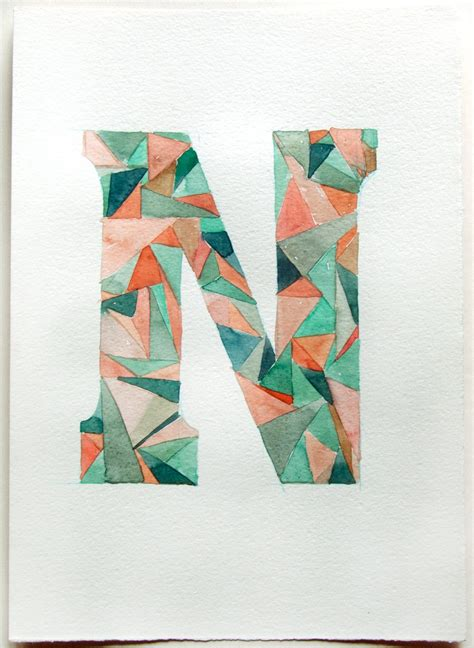 Letter Painting Letter N Watercolor Painting Typography Geometric