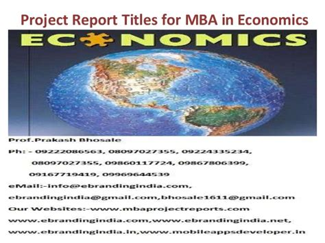 Use Mba In Title by Project Report Titles For Mba In Economics