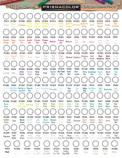 prismacolor color chart prismacolor premier colored pencil 132 blank colour chart