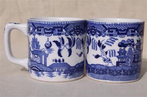 blue pattern china mugs vintage blue white willow pattern ironstone china mugs