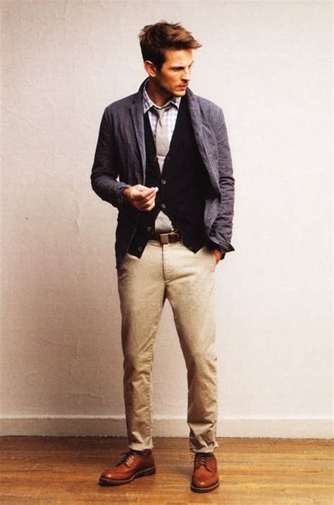 cardigans shirts neck ties chinos leather shoes gray