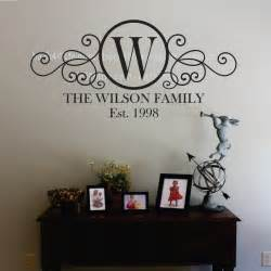 Monogram Wall Decor by Swirly Circle Family Monogram Vinyl Wall Decal M 010 By