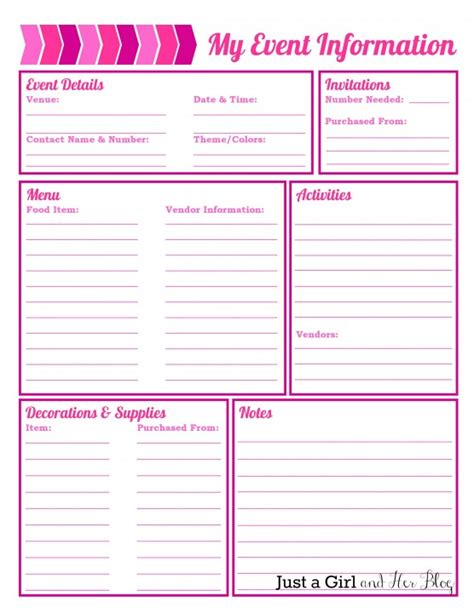 free birthday planner printable party planning organized free printables included
