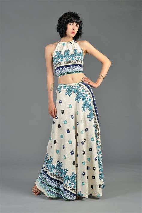 Wilatika Ethnic Warp Maxi Skirt 1970s ethnic gauze crop top maxi wrap skirt bustown modern