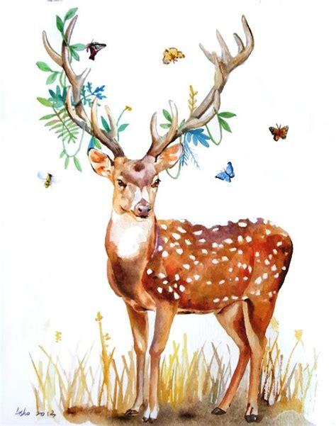 deer watercolor tattoo ooak original watercolor outing with deer 8x10 fox rabbit