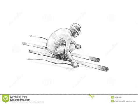 sketchbook copy selection sketch pencil illustration of an alpine skier