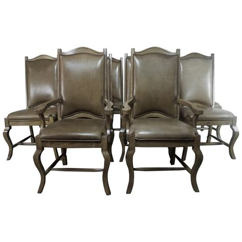 set   leather upholstered french dining chairs