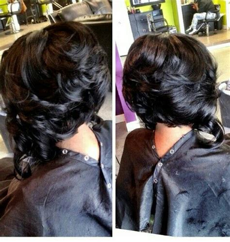 back view of layered bob of african american hair african american woman layered medium length hairstyle