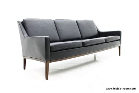 Black Leather Sofa Modern Mid Century Modern Black Leather Sofa Inside Room