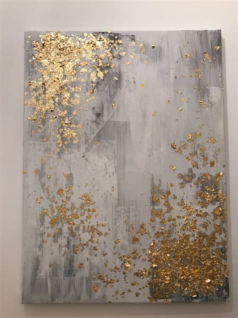 painting greys light grey and gold leaf abstract painting by