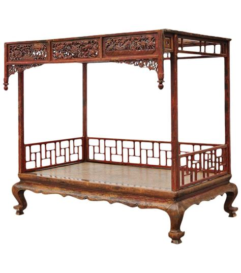 carved and lacquered canopy bed for sale at 1stdibs