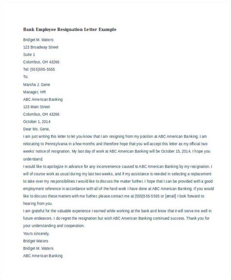 Resignation Letter Format Of Bank resignation letters exles resume cv cover letter