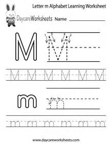 free letter m alphabet learning worksheet for preschool