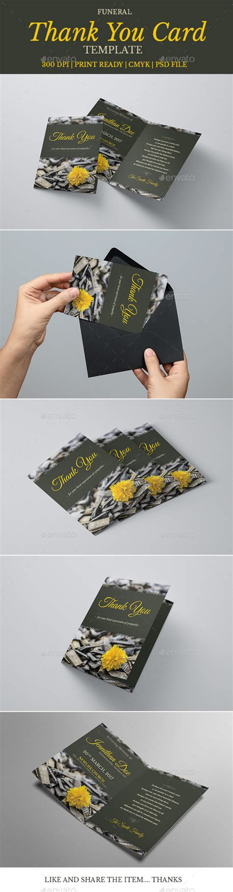 funeral greeting card template for lightroom funeral program thank you card template 06 by