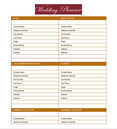 printable wedding planner template 13 wedding planner templates free sle exle