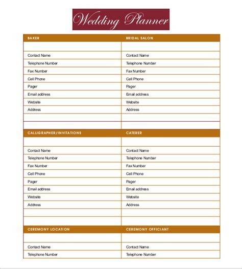Wedding Planner Template Free Download   printable