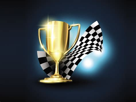 cartoon golden trophy with checkered flag ppt backgrounds