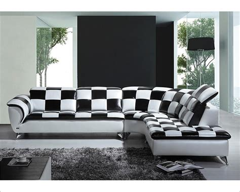 black and white checkered leather sectional sofa 44l5973