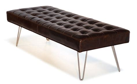 modern leather ottoman coffee table mid century modern dark brown button tufting leather