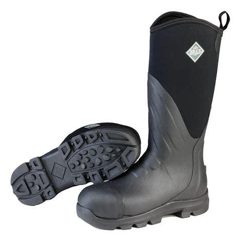 muck grit waterproof steel toe rubber work boots black