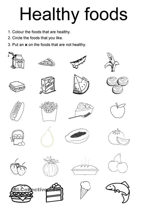 Healthy Snacks Worksheet by Healthy Foods For Worksheets Galleries