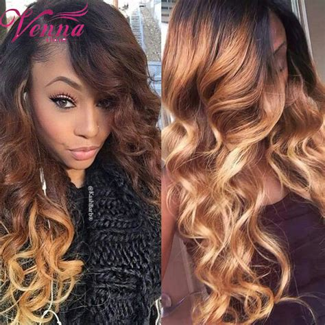 pics of bkonde hair in front dark brown in back fashion natural long bodywave 3 color synthetic lace front