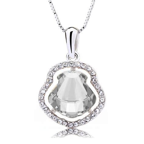 white seashell swarovski elements 18k gold plated necklace