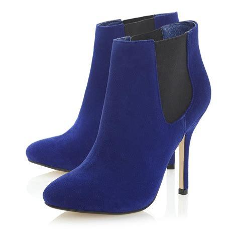 dune neesh womens blue suede stiletto heel chelsea