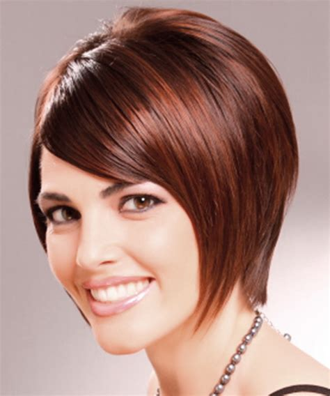short straight formal bob hairstyle with side swept bangs