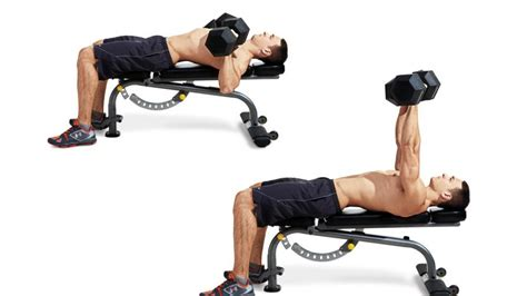 flat bench dumbbell chest press dumbbell bench press men s fitness