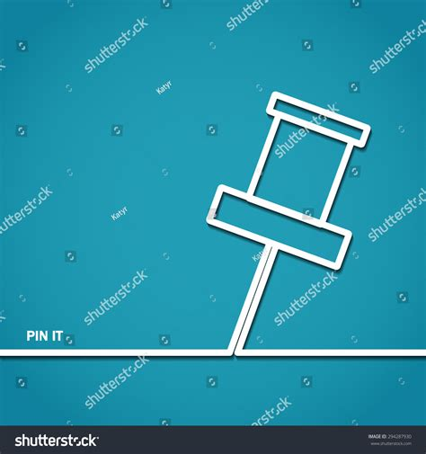 vector illustration push pin outline design stock vector