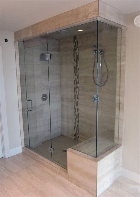 Showers With Seats And Glass Doors Shower Seat Cubby Held Glass Doors Bathtub
