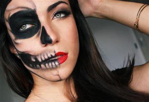 tutorial makeup natural glamour half skull half glamour last minute halloween makeup