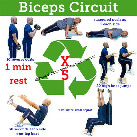 20 minute biceps circuit routine vegalicious